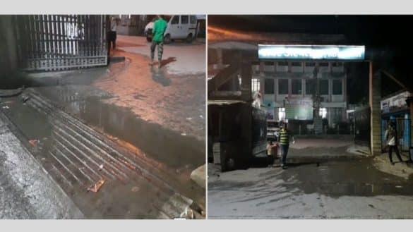 drainage water flows at Sadar hospital gate amidst corona cries in Bihar