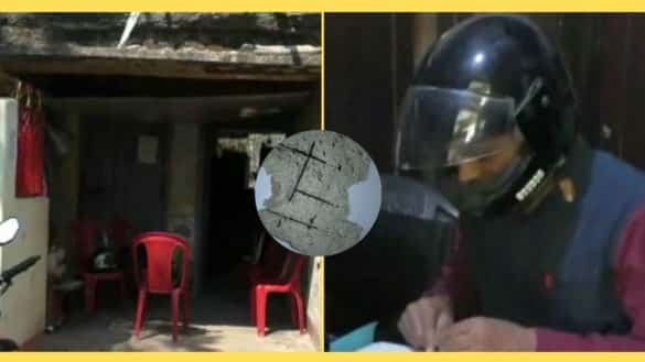 Employees forced to work form a dilapidated building wear helmet for safety