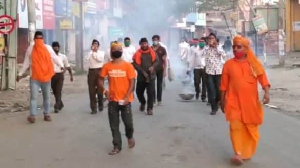 RSS touring the city with the smoke of havan for liberation from Virus