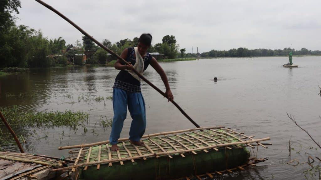 No road no boat for island village in Bihar